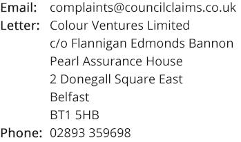 Contact details for complaints